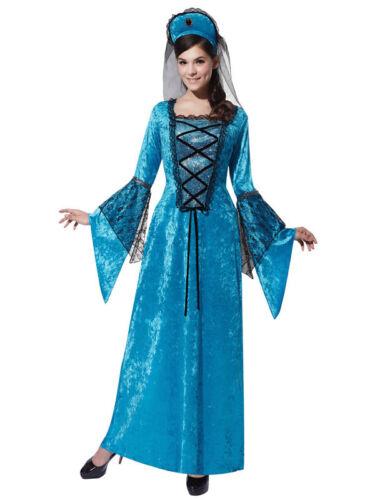 Mesdames médiéval costume robe fantaisie femme tudor reine costume historique bleu