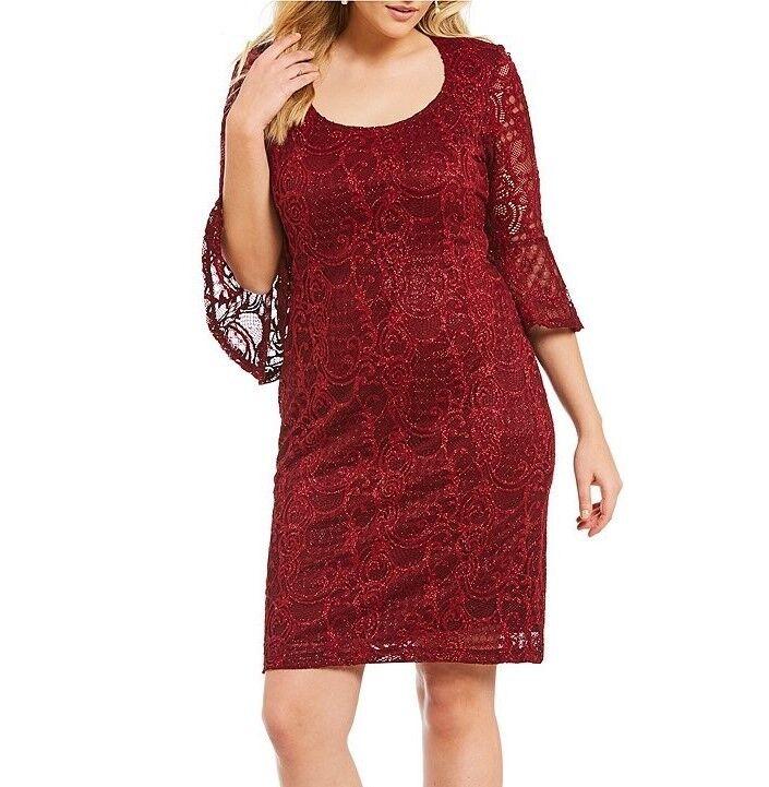 MARINA® Plus Größe 20W Burgundy Glitter Lace Bell Sleeve Sheath Dress NWT
