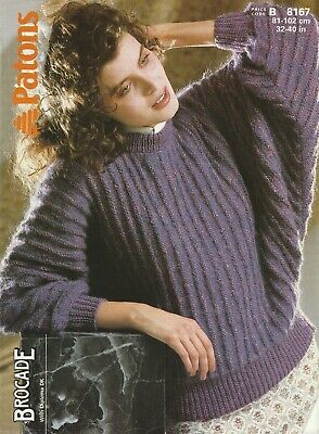 Patons Brocade/Double Knitting Dolman Lady's Sweater ...