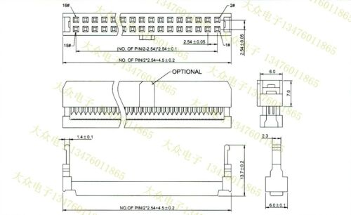 4PCS NEXTRON Flat connector IDC 2.54 FC 14P