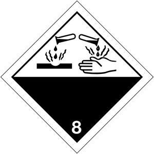 """Etichette Segnaletica per trasporto internazionale """"Materiali corrosivi"""""""