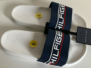 NEW-TOMMY-HILFIGER-EVERED-BLUE-WHITE-SLIP-ON-SLIDES-FLIP-FLOP-SLIPPERS-9-39-SALE