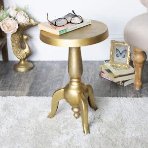 Détails sur Or vintage ronde piédestal Côté Fin table salon couloir écran  Decor- afficher le titre d\'origine