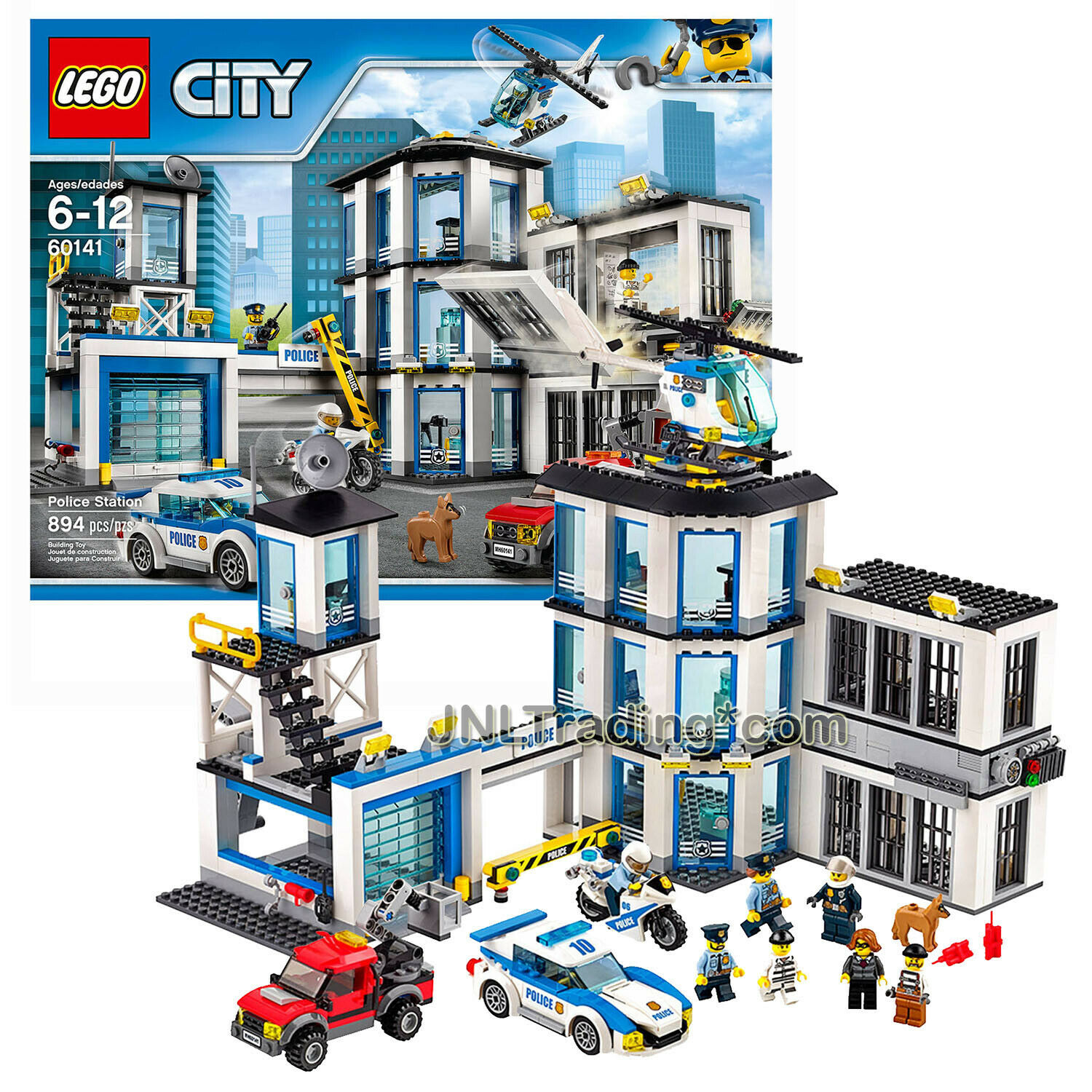 New 2017 Lego City 60141 POLICE STATION with 4 Police, 3 Crook and Dog (894 Pcs)