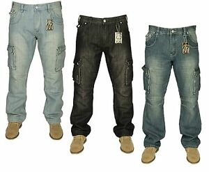 Mens-New-King-Size-Cargo-Combat-Denim-Jeans-Black-Blue-Pants-Sizes-30-60
