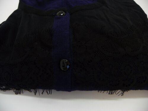 August Silk Black Sheer Lace Trim Illusion Cardigan Sweater Evening Blue M JU431