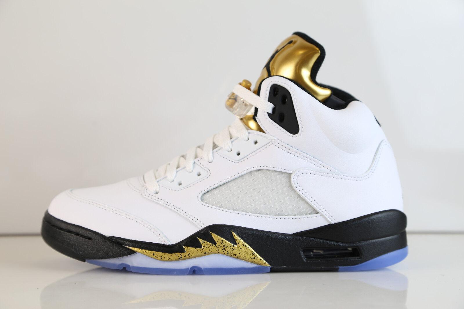 Nike Air Jordan Retro 5 blanco oro olímpico 136027 de la lengua 2018 136027 olímpico 133 7.515 11 12 2cc5a2