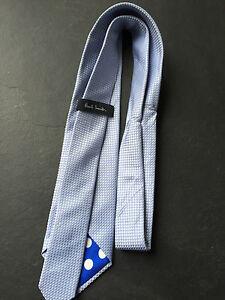 PAUL SMITH Silk TIE Blue Diamond Pattern Polka Lining 8cm Blade