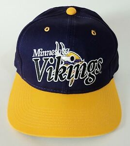 Image is loading Rare-Vintage-New-Minnesota-Vikings-Snapback-Hat-Ball- 68c0db016