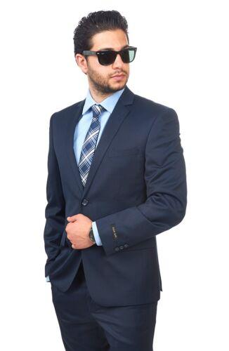 Slim Fit Men Suit 2 Button Navy Blue Notch Lapel Flat Front Pants By AZAR MAN