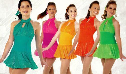 NWOT Foil Sparkle Dance Costume Petite Adult fits girls sz 10-12 various colrs