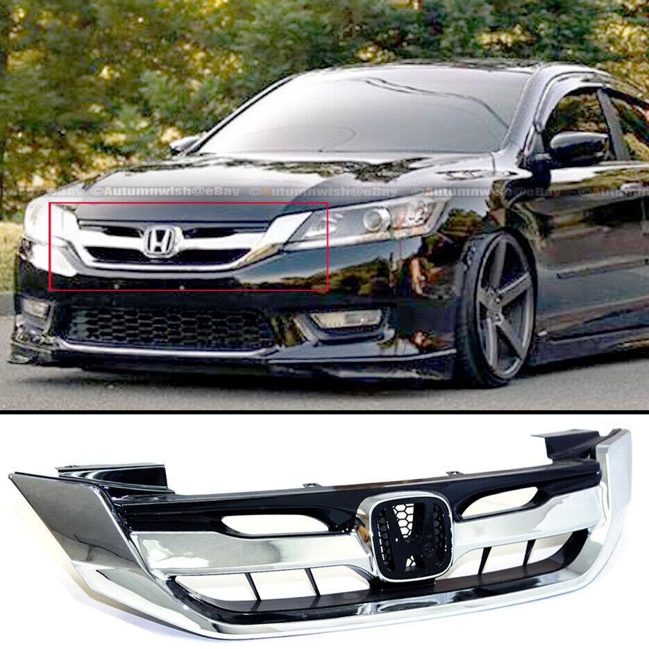 Chrome Black JDM Sport Mesh Front Grille Grill Fits for 2016-2017 9th Gen Honda Accord Sedan