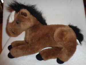 Horse-Brown-White-Spot-Black-Mane-Tail-Plush-Stuffed-Laying-Soft-Princess-Toy
