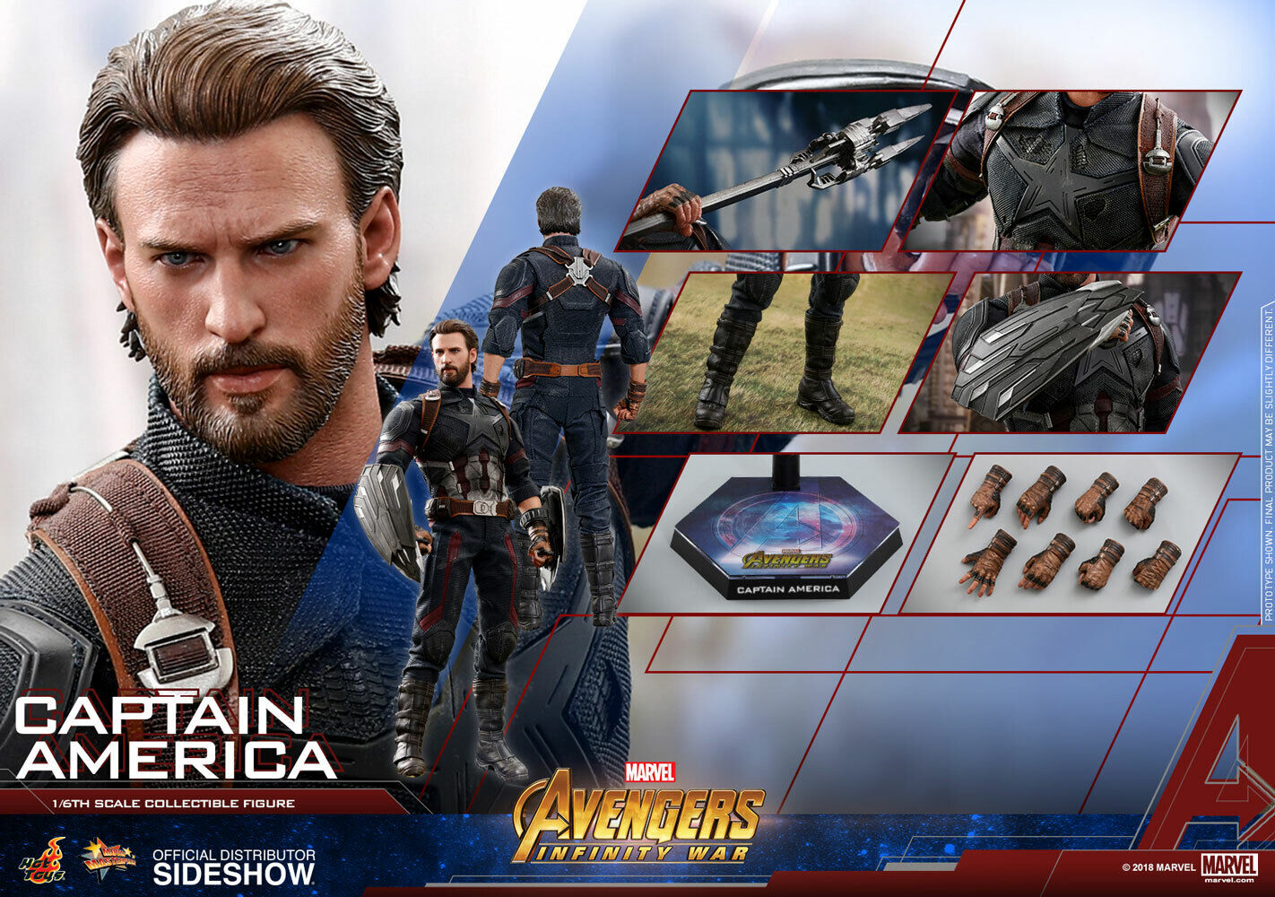 MARVEL Captain Captain Captain America Collector Edit Action Figure 1 6 Hot Toys Sideshow MMS480 847bad