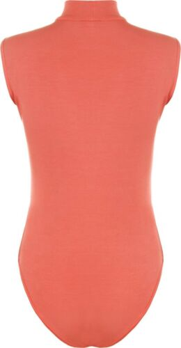 Womens Ladies Sleeveless Stretchy Turtle Polo Neck Bodysuit Leotard Dance Top