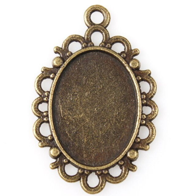 30pcs Antique Bronze Oval Base Charms Alloy Connector Pendant Findings 144990