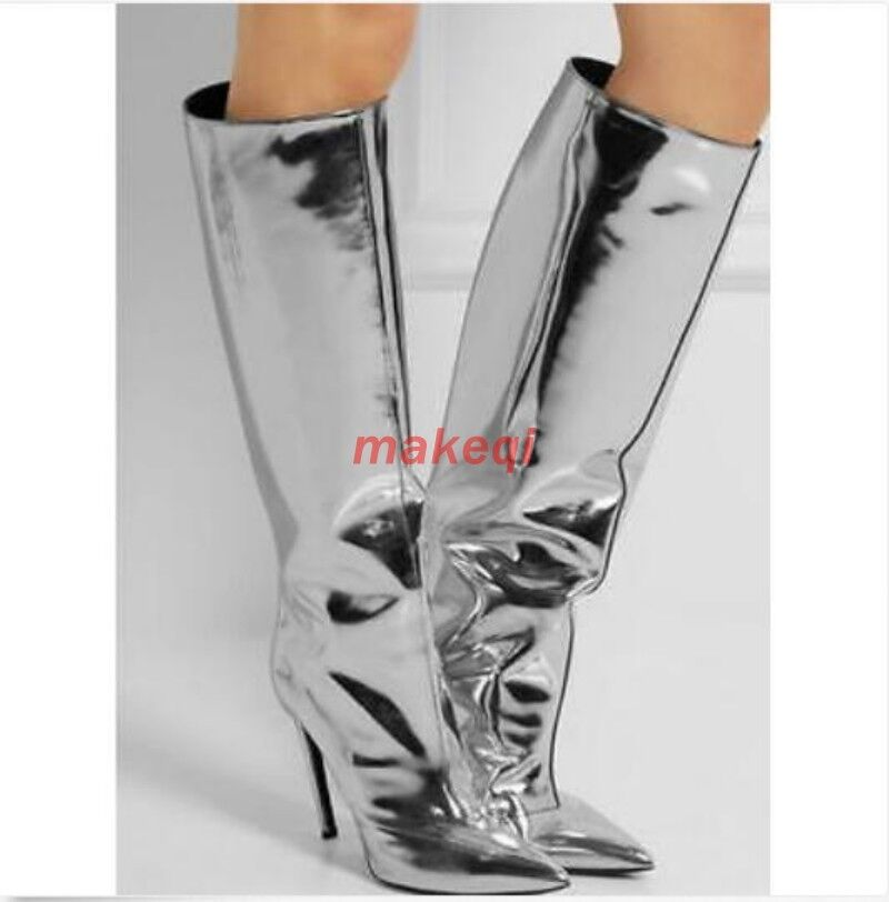 Sexy Donna Pointed Toe High Heel Stilettos Bright Knee High Boots T-Stage Shoes