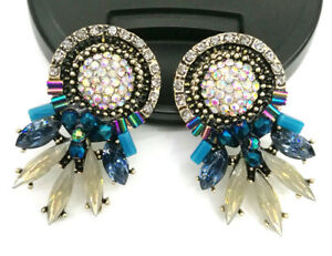 Handmade-Multi-Crystal-Ear-Drop-Dangle-Stud-Ancient-Gold-long-Tassels-Earrings