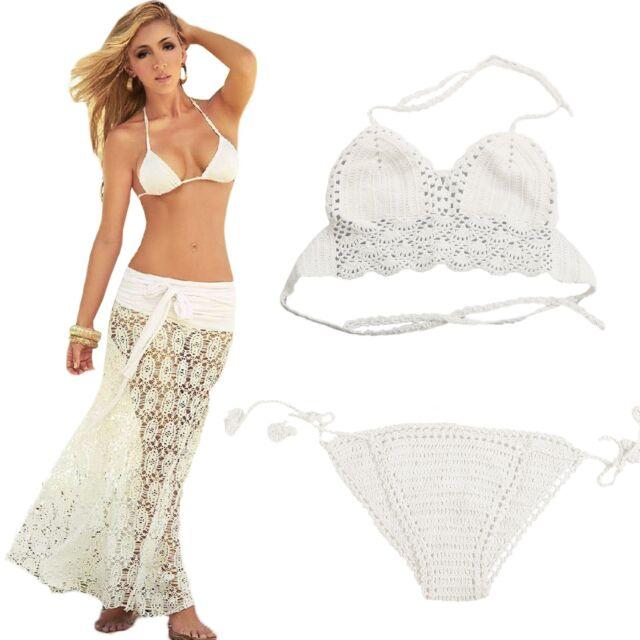 Women Boho Crochet Maxi Beach Skirt Dress Cover Up Swimwear Bikini Top Bottom