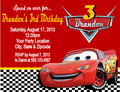 Bumper Cars Birthday Party Invites with Envelopes 03 10 x Personalised Racing