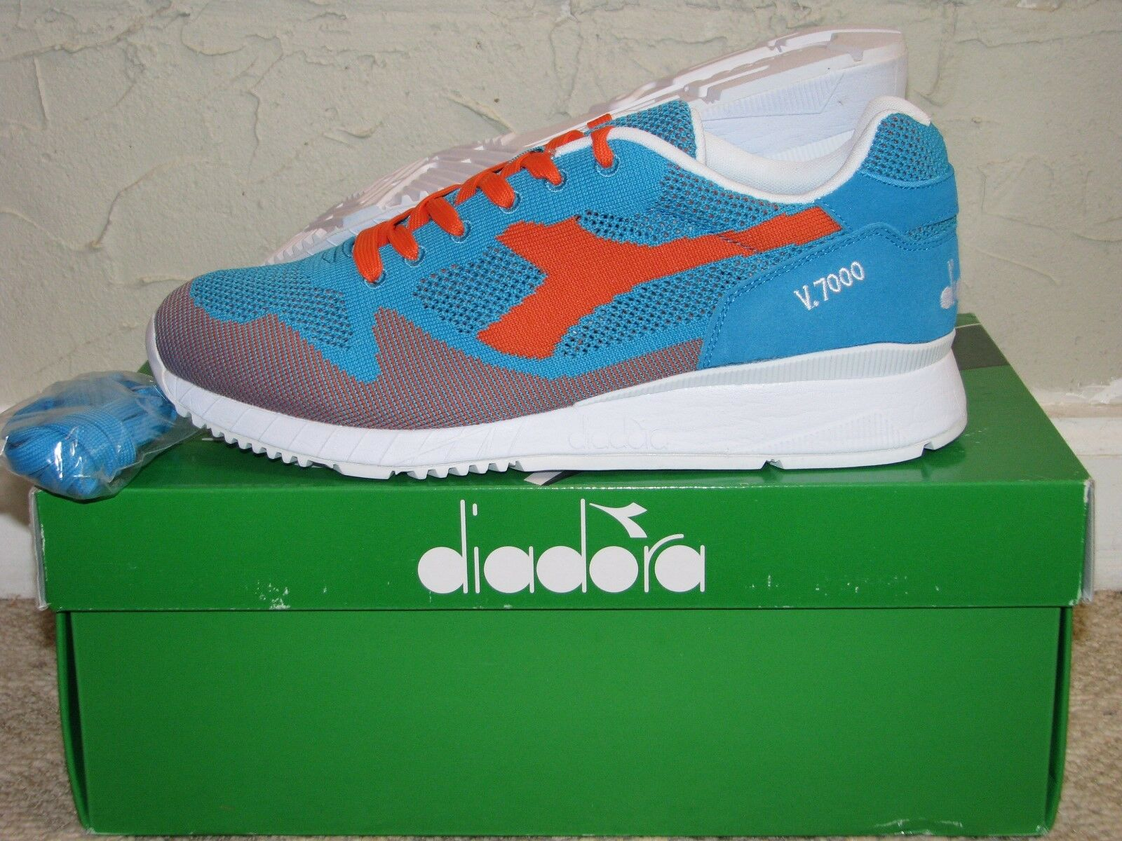 Diadora Tejido V7000 azul naranja Mens tamaño 10 Ds Nuevo  501.170476-01 C6893
