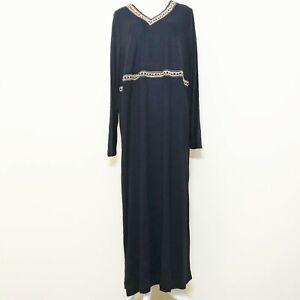 Ulla-Popken-Plus-Size-16-18-Maxi-Dress-Black-Embellished-Long-Sleeves-Rayon