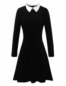 Aphratti-Women-039-s-Long-Sleeve-Casual-Peter-Pan-Collar-Flare-Dress-Black-Medium
