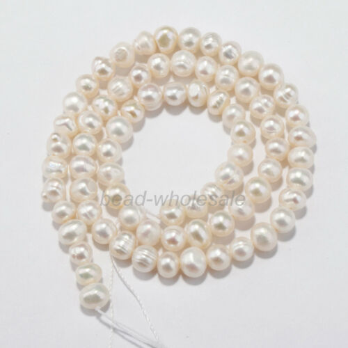 White Freshwater Natural Real Pearl Round Loose Beads 15/'/'  4//5//6//7//8//9//10mm
