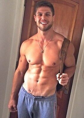Shirtless Male Beefcake Muscular Beefy Hunk Hairy Chest