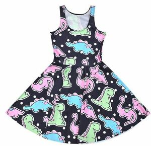 Cute-Dinosaur-Dot-Art-Character-Skater-Dress-Adorable-Kawaii-S-M-L-XL-2XL-3XL-4X