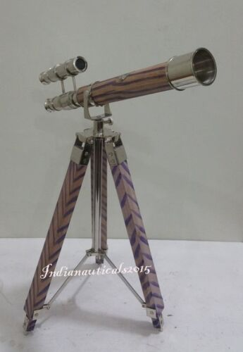 Details about  /Royal Navy Telescope London 1915 Chrome Finish Telescope With Blue  Tripod