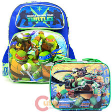 "TMNT Ninja Turtles 16"" Large School Backpack Lunch Bag 2pc Set -Tough Guys"