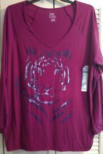 Womens-Top-Plum-Just-My-Size-Vneck-Shimmery-Big-Cat-Print-Shirred-Sides-NWT-3X