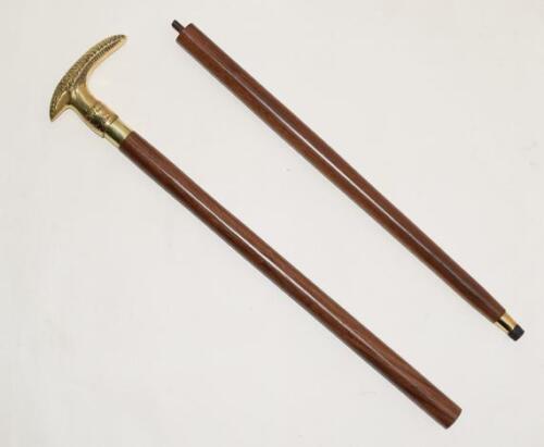 Details about  /Solid Brass Got Handle Walking Stick Cane Vintage Designer Antique Wooden Cnae