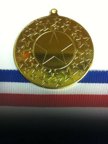 25 x 50mm Stars Multisport,Dance Medal with FREE Medal Ribbon Gold,Silver,Bronze