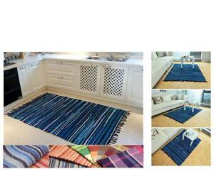 100% Coton Handmade Rugs Tapis Tissés à La Main Lavable Tapis, Bleu Blanc Rayures-afficher Le Titre D'origine