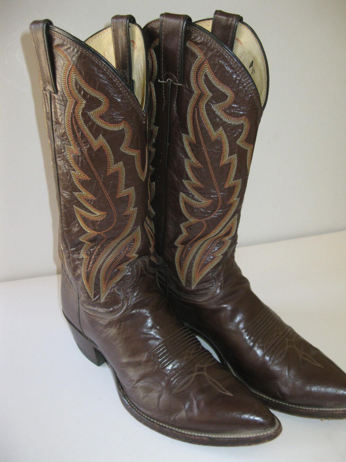 Justin Western Cowboy Boots Vintage 1989 Ladies 9.5D Dark Brown J6940