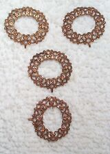 VINTAGE RICH PATINA FINE FILIGREE BRASS STAMPINGS FINDINGS 8 PIECES