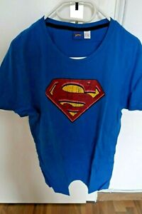 Superman-T-Shirt-fuer-Damen-Herren-in-Blau-Groesse-M-Sommer-Trend