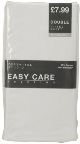 Fitted Sheet Cotton Blend Single Double King Ex BHS Store High Street New White