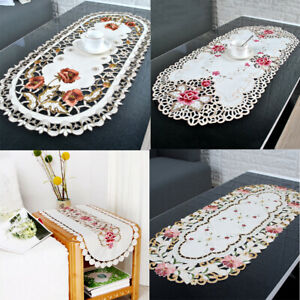 Vintage-Embroidered-Floral-Tablecloth-Oval-Lace-Table-Runner-Doilies-Wedding