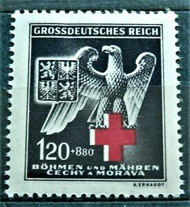 1943 WW2 GERMANY B.u.M. 3rd REICH ERA STAMP GROSSDEUTSCHES REICH  MNH