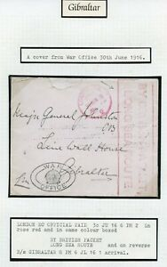 GIBRALTAR-1916-WWI-War-Office-cover-BY-BRITISH-PACKET-LONG-SEA-ROUTE