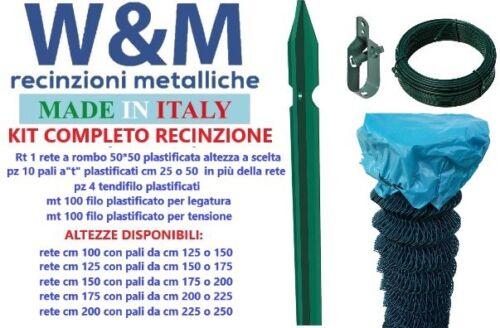 Rete per recinzione metallica a rombo KIT COMPLETO plastificato 25mt rete+pali