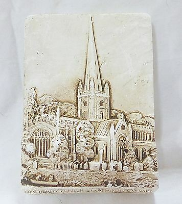 Vintage holy trinity church stratford upon avon soapstone wall plaque