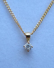 New .12ct Diamond Solitaire 9ct Yellow Gold Pendant & 18 inch Chain. £99.99