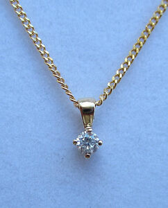 New-Diamond-Solitaire-9ct-Yellow-Gold-Pendant-amp-18-inch-Chain-100-00-Freepost