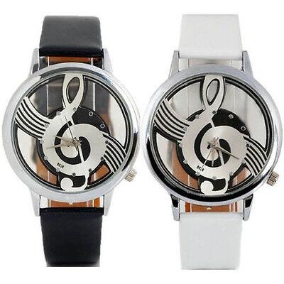 Geneva Watches Note Music Notation Leather Quartz Wristwatch Fashion