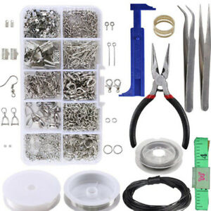 1-Set-Large-Jewellery-Making-Kit-Pliers-Silver-Beads-Wire-Starter-Tool-Home-YK