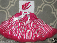 Girl Pettiskirt, Lined Crochet Tutu Top & Rhinestone Floral Headband 3-5 Yrs